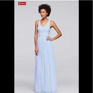 Mesh Long Bridesmaid Dress with Crisscross Back